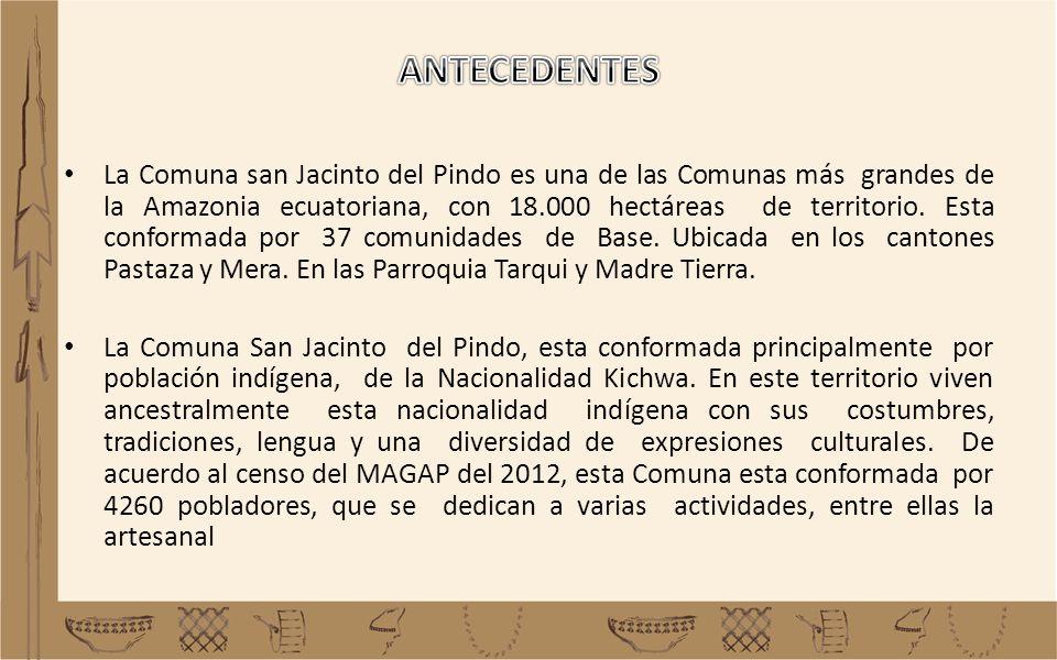 La Comuna san Jacinto del Pindo es una de las Comunas más grandes de la Amazonia ecuatoriana, con 18.000 hectáreas de territorio. Esta conformada por
