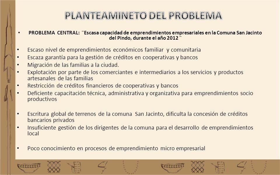 PROBLEMA CENTRAL: ¨Escasa capacidad de emprendimientos empresariales en la Comuna San Jacinto del Pindo, durante el año 2012 ¨ Escaso nivel de emprend