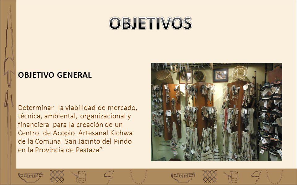 OBJETIVO GENERAL Determinar la viabilidad de mercado, técnica, ambiental, organizacional y financiera para la creación de un Centro de Acopio Artesana