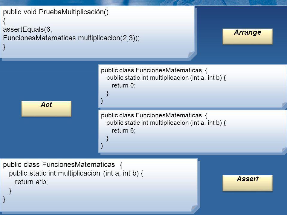 public void PruebaMultiplicación() { assertEquals(6, FuncionesMatematicas.multiplicacion(2,3)); } public void PruebaMultiplicación() { assertEquals(6,