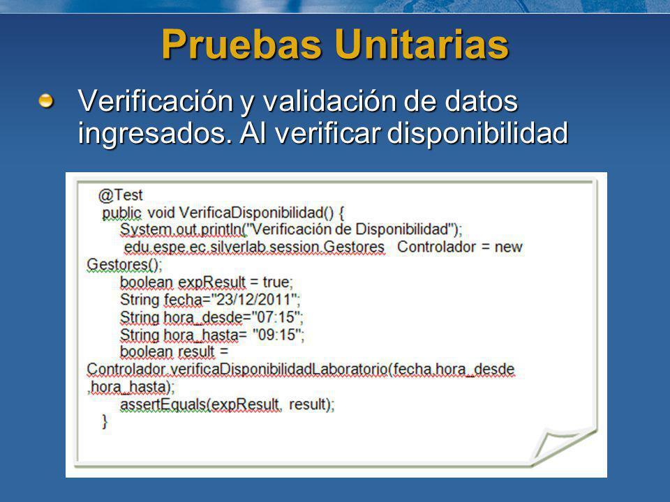 Pruebas Unitarias Verificación y validación de datos ingresados. Al verificar disponibilidad