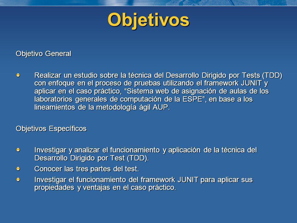 Objetivos Objetivo General Realizar un estudio sobre la técnica del Desarrollo Dirigido por Tests (TDD) con enfoque en el proceso de pruebas utilizand