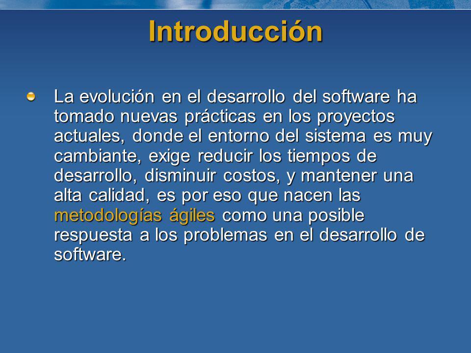 Introducción La evolución en el desarrollo del software ha tomado nuevas prácticas en los proyectos actuales, donde el entorno del sistema es muy camb