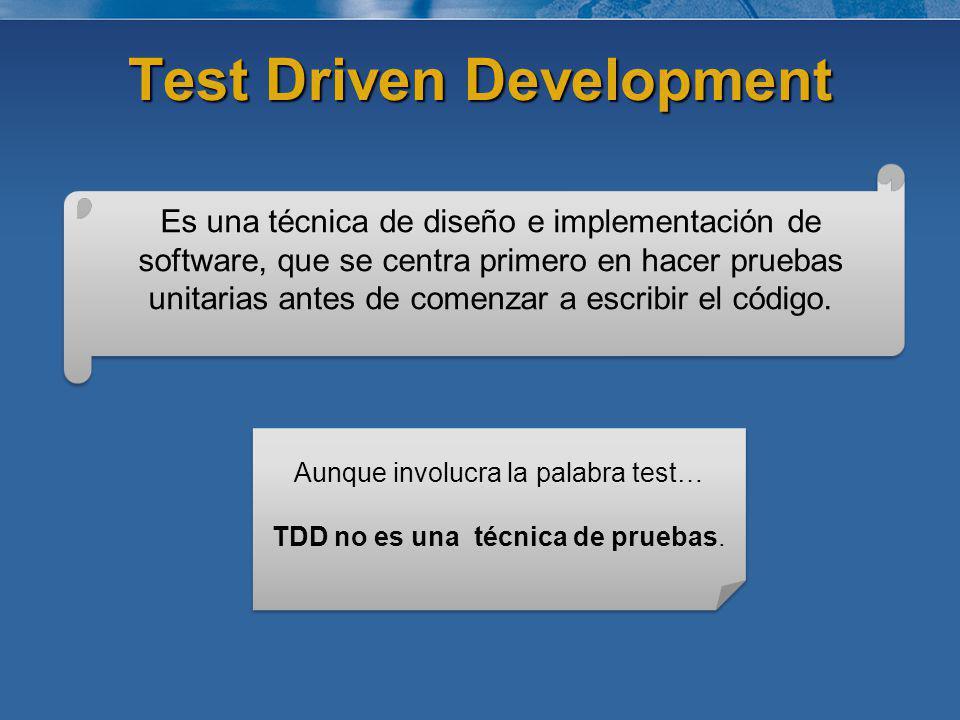 Test Driven Development Es una técnica de diseño e implementación de software, que se centra primero en hacer pruebas unitarias antes de comenzar a es