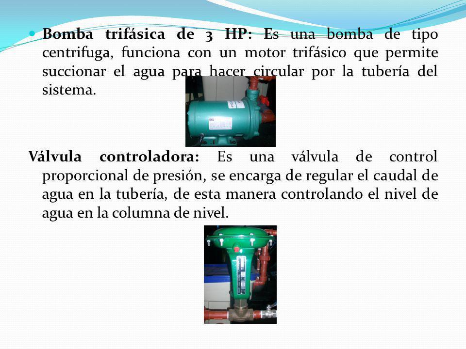Bomba trifásica de 3 HP: Es una bomba de tipo centrifuga, funciona con un motor trifásico que permite succionar el agua para hacer circular por la tub