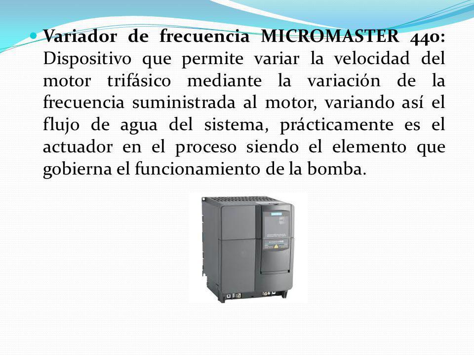 Variador de frecuencia MICROMASTER 440: Dispositivo que permite variar la velocidad del motor trifásico mediante la variación de la frecuencia suminis