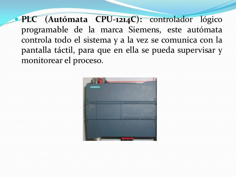 PLC (Autómata CPU-1214C): controlador lógico programable de la marca Siemens, este autómata controla todo el sistema y a la vez se comunica con la pan