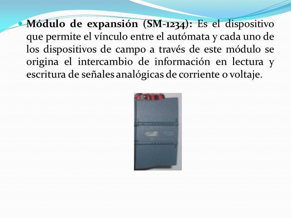 Módulo de expansión (SM-1234): Es el dispositivo que permite el vínculo entre el autómata y cada uno de los dispositivos de campo a través de este mód