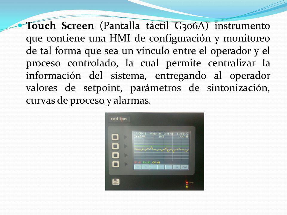 Touch Screen (Pantalla táctil G306A) instrumento que contiene una HMI de configuración y monitoreo de tal forma que sea un vínculo entre el operador y