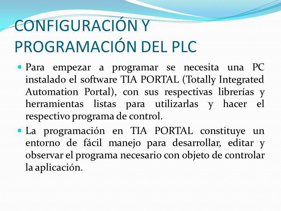 CONFIGURACIÓN Y PROGRAMACIÓN DEL PLC Para empezar a programar se necesita una PC instalado el software TIA PORTAL (Totally Integrated Automation Porta