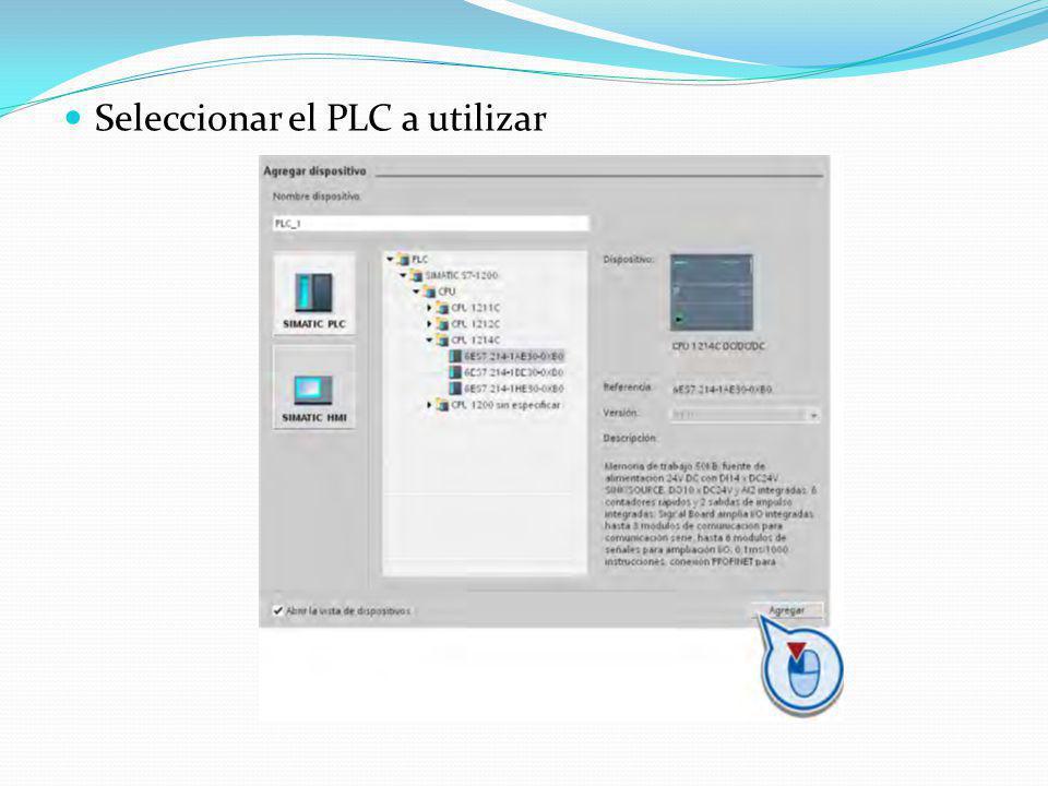 Seleccionar el PLC a utilizar