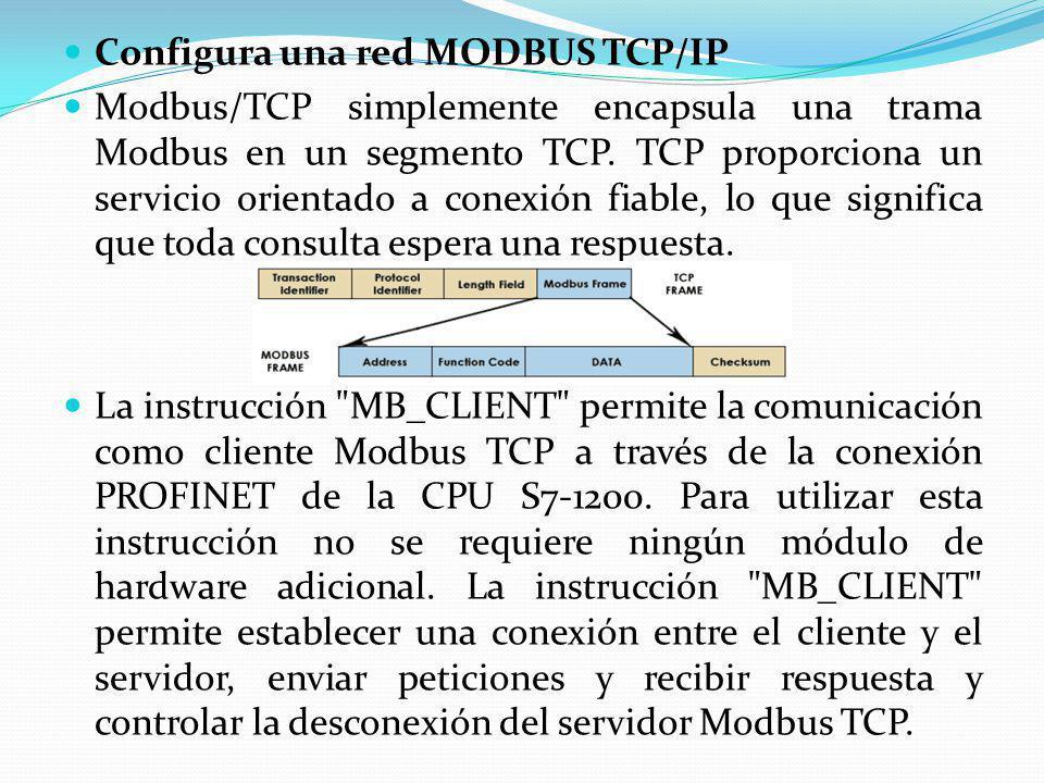 Configura una red MODBUS TCP/IP Modbus/TCP simplemente encapsula una trama Modbus en un segmento TCP. TCP proporciona un servicio orientado a conexión