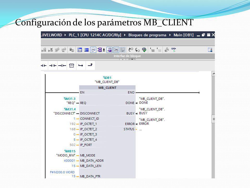 Configuración de los parámetros MB_CLIENT