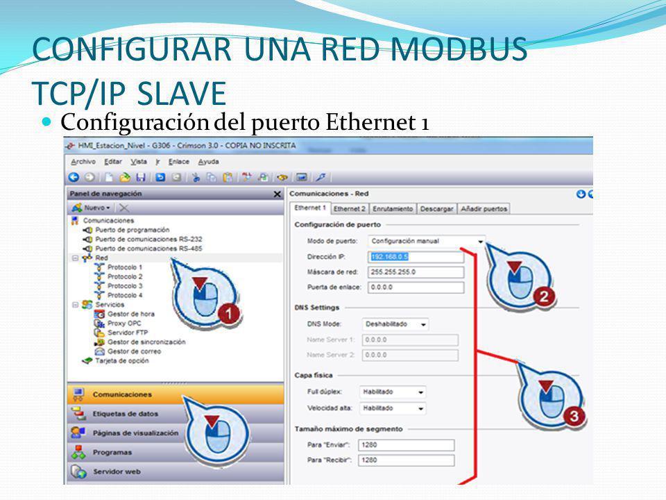 CONFIGURAR UNA RED MODBUS TCP/IP SLAVE Configuración del puerto Ethernet 1
