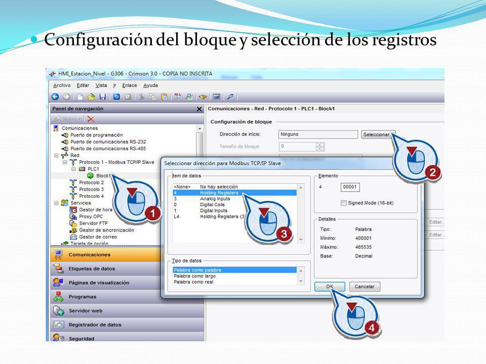 Configuración del bloque y selección de los registros