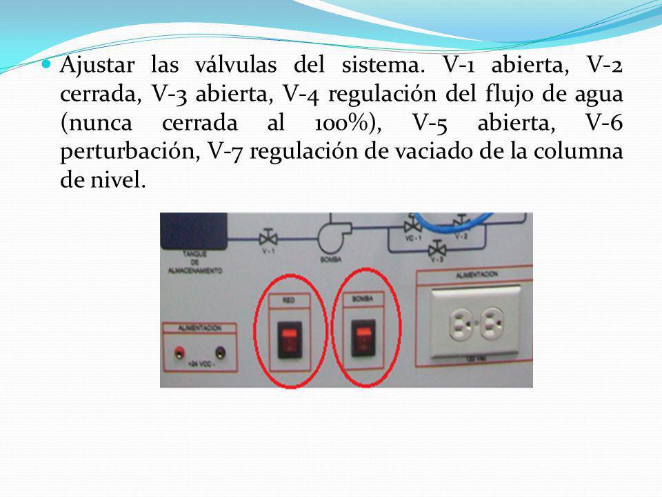 Ajustar las válvulas del sistema. V-1 abierta, V-2 cerrada, V-3 abierta, V-4 regulación del flujo de agua (nunca cerrada al 100%), V-5 abierta, V-6 pe