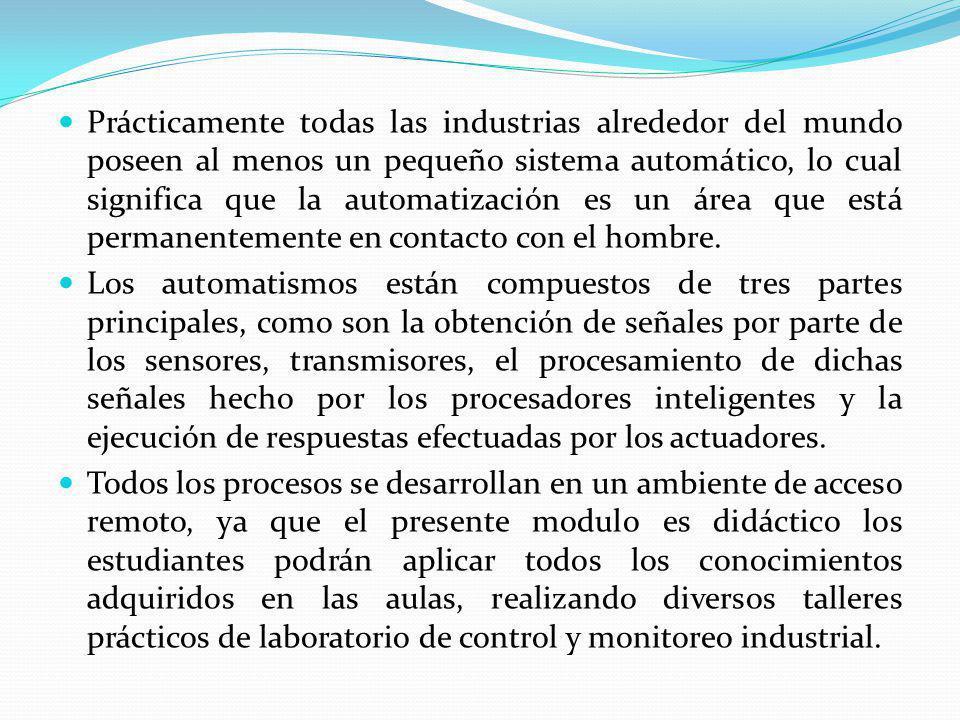 DESCRIPCIÓN RESUMIDA DEL PROYECTO El modulo didáctico nos permite monitorear y controlar el nivel de agua de un tanque con la ayuda de sensores y actuadores que se analizaron de acuerdo a las condiciones del proceso, un depósito de agua, una columna de nivel, una válvula de regulación proporcional, válvulas ON/OFF, conjunto de tubería (PVC), rotámetro, conversor de corriente a presión, un PLC(Controlador lógico Programable), una módulo de entradas y salidas analógicas, una Touch Screen(pantalla táctil) y un transmisor de nivel tipo radar.
