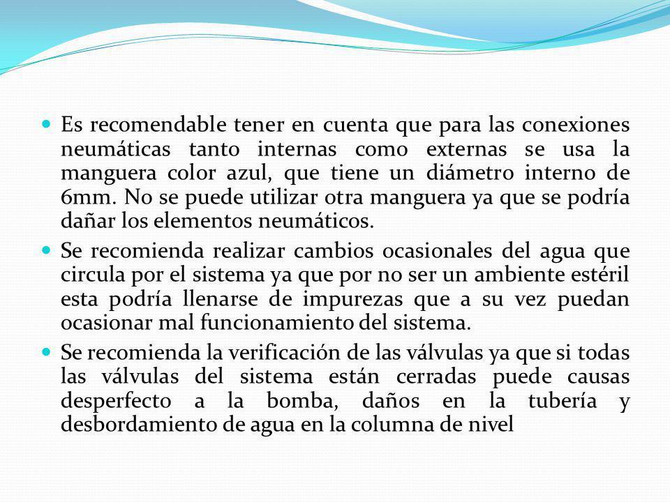 Es recomendable tener en cuenta que para las conexiones neumáticas tanto internas como externas se usa la manguera color azul, que tiene un diámetro i