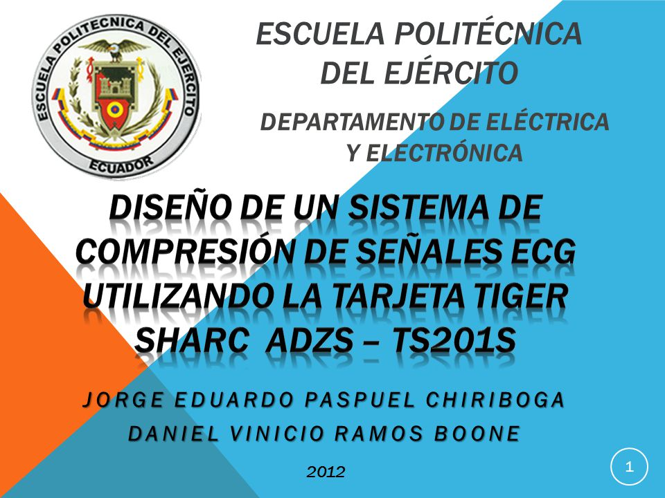 ESCUELA POLITÉCNICA DEL EJÉRCITO DEPARTAMENTO DE ELÉCTRICA Y ELECTRÓNICA 1 JORGE EDUARDO PASPUEL CHIRIBOGA DANIEL VINICIO RAMOS BOONE 2012