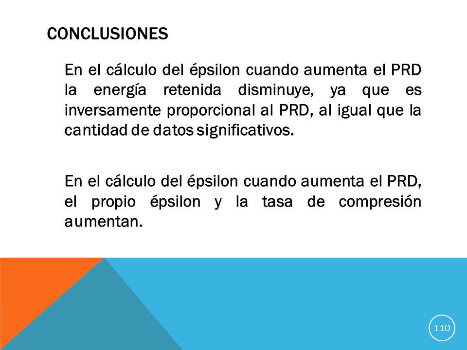 CONCLUSIONES En el cálculo del épsilon cuando aumenta el PRD la energía retenida disminuye, ya que es inversamente proporcional al PRD, al igual que la cantidad de datos significativos.