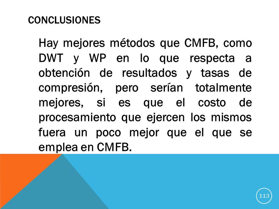 CONCLUSIONES Hay mejores métodos que CMFB, como DWT y WP en lo que respecta a obtención de resultados y tasas de compresión, pero serían totalmente mejores, si es que el costo de procesamiento que ejercen los mismos fuera un poco mejor que el que se emplea en CMFB.