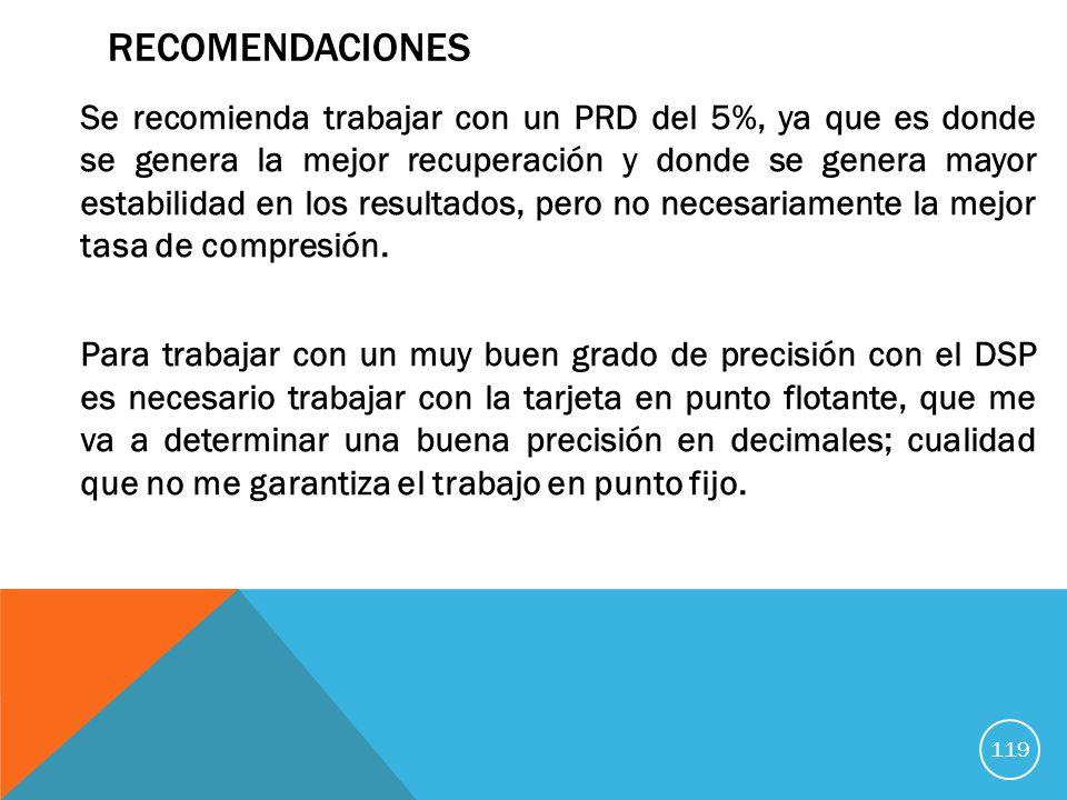 RECOMENDACIONES Se recomienda trabajar con un PRD del 5%, ya que es donde se genera la mejor recuperación y donde se genera mayor estabilidad en los resultados, pero no necesariamente la mejor tasa de compresión.