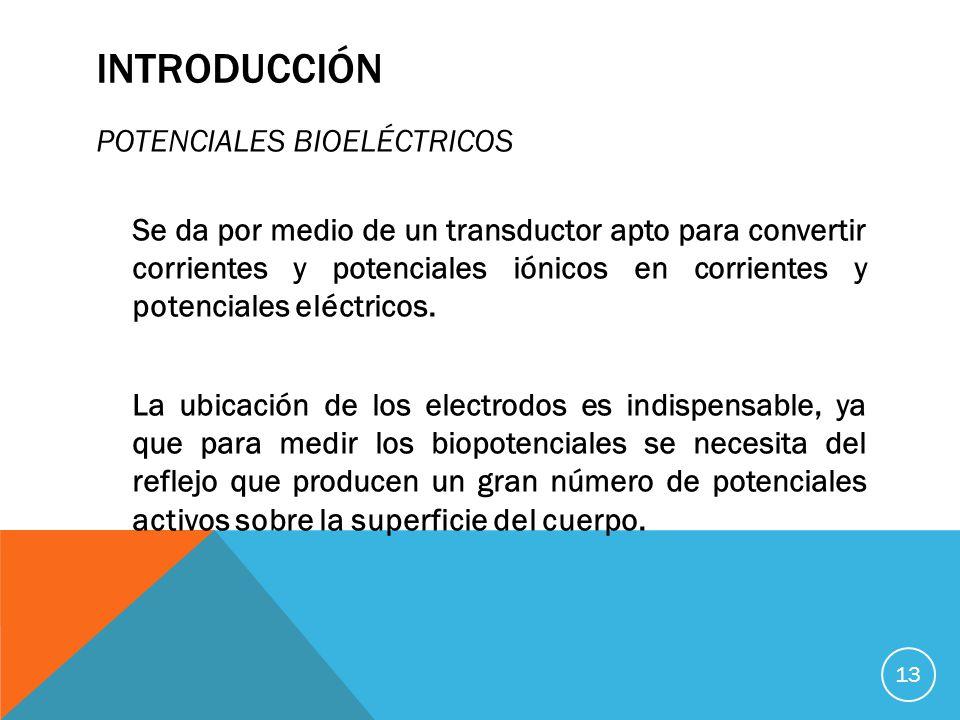 INTRODUCCIÓN POTENCIALES BIOELÉCTRICOS Se da por medio de un transductor apto para convertir corrientes y potenciales iónicos en corrientes y potenciales eléctricos.