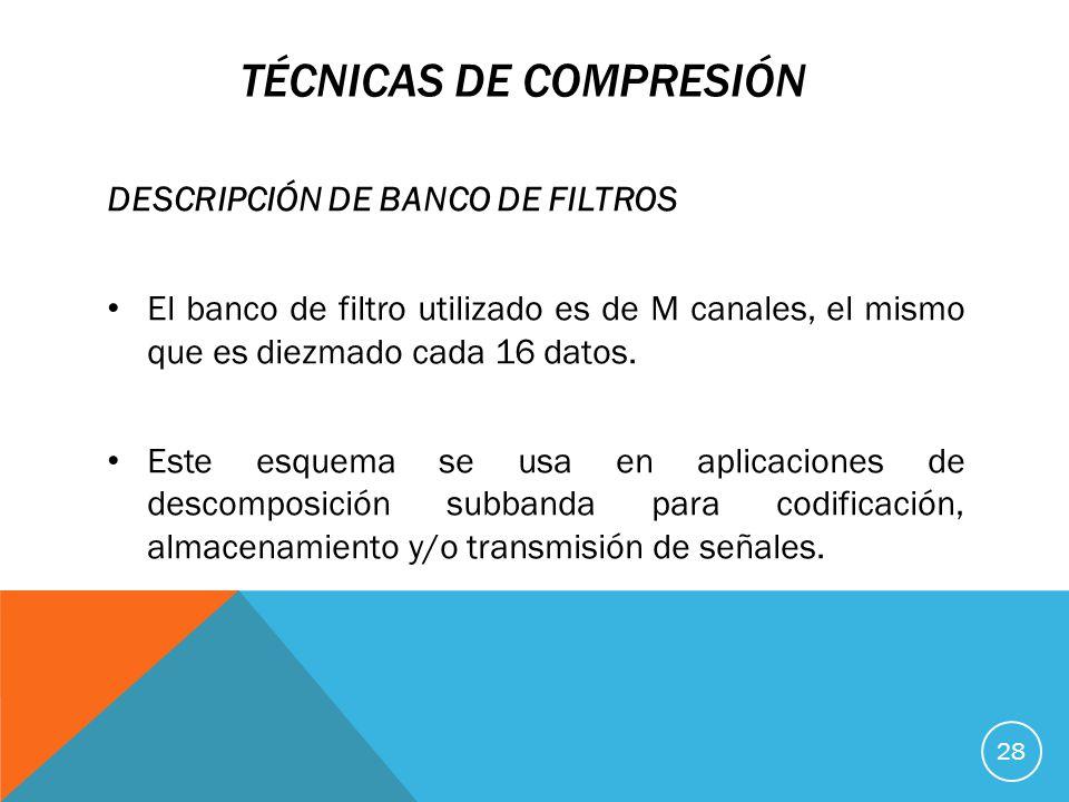 TÉCNICAS DE COMPRESIÓN DESCRIPCIÓN DE BANCO DE FILTROS El banco de filtro utilizado es de M canales, el mismo que es diezmado cada 16 datos.
