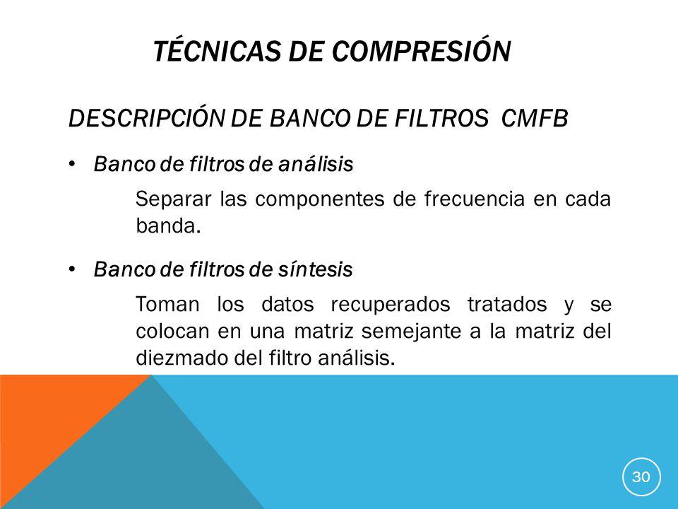 TÉCNICAS DE COMPRESIÓN DESCRIPCIÓN DE BANCO DE FILTROS CMFB Banco de filtros de análisis Separar las componentes de frecuencia en cada banda.