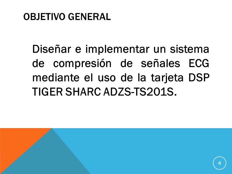 OBJETIVO GENERAL Diseñar e implementar un sistema de compresión de señales ECG mediante el uso de la tarjeta DSP TIGER SHARC ADZS-TS201S.