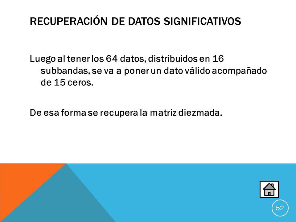 RECUPERACIÓN DE DATOS SIGNIFICATIVOS Luego al tener los 64 datos, distribuidos en 16 subbandas, se va a poner un dato válido acompañado de 15 ceros.
