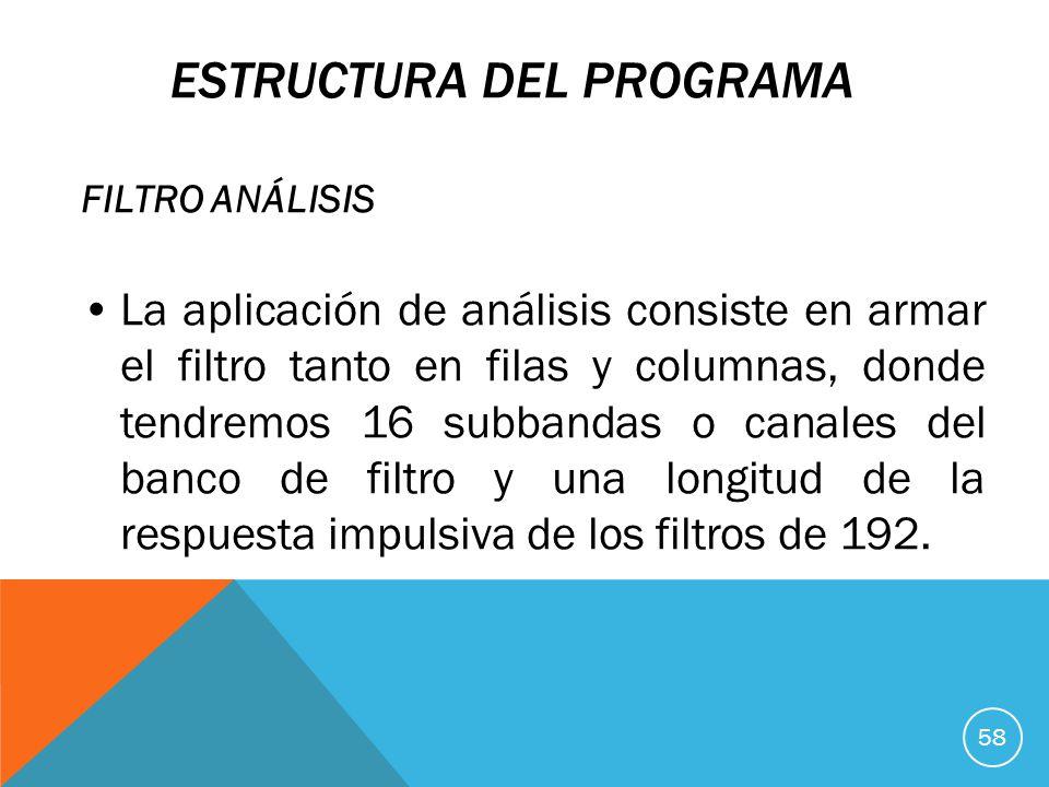ESTRUCTURA DEL PROGRAMA FILTRO ANÁLISIS La aplicación de análisis consiste en armar el filtro tanto en filas y columnas, donde tendremos 16 subbandas o canales del banco de filtro y una longitud de la respuesta impulsiva de los filtros de 192.