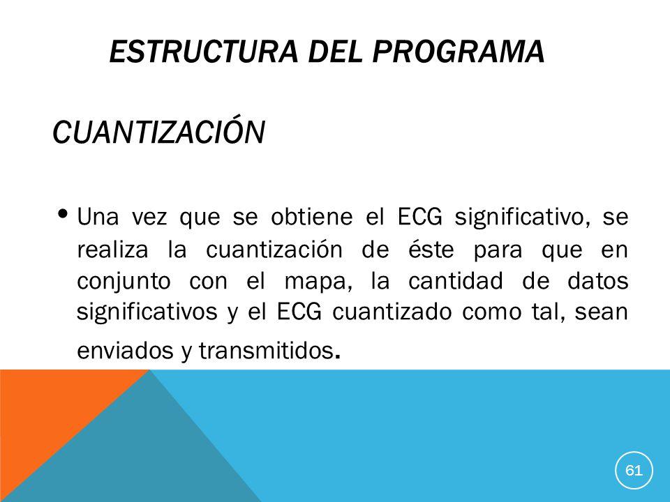 ESTRUCTURA DEL PROGRAMA CUANTIZACIÓN Una vez que se obtiene el ECG significativo, se realiza la cuantización de éste para que en conjunto con el mapa, la cantidad de datos significativos y el ECG cuantizado como tal, sean enviados y transmitidos.