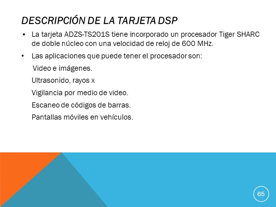 DESCRIPCIÓN DE LA TARJETA DSP La tarjeta ADZS-TS201S tiene incorporado un procesador Tiger SHARC de doble núcleo con una velocidad de reloj de 600 MHz.