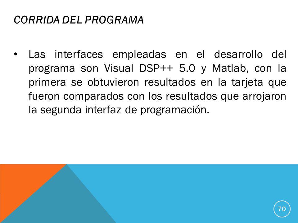 CORRIDA DEL PROGRAMA Las interfaces empleadas en el desarrollo del programa son Visual DSP++ 5.0 y Matlab, con la primera se obtuvieron resultados en la tarjeta que fueron comparados con los resultados que arrojaron la segunda interfaz de programación.