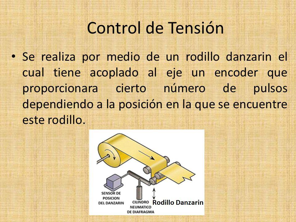 Control de Tensión Se realiza por medio de un rodillo danzarin el cual tiene acoplado al eje un encoder que proporcionara cierto número de pulsos dependiendo a la posición en la que se encuentre este rodillo.