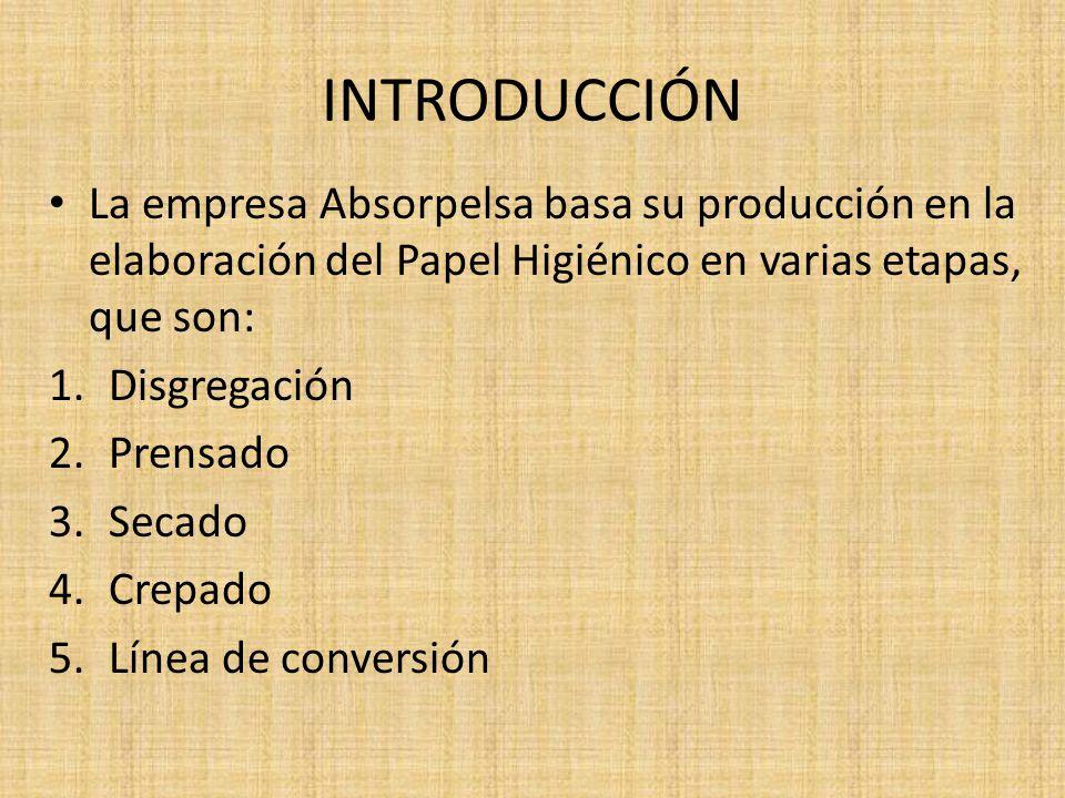 INTRODUCCIÓN La empresa Absorpelsa basa su producción en la elaboración del Papel Higiénico en varias etapas, que son: 1.Disgregación 2.Prensado 3.Secado 4.Crepado 5.Línea de conversión