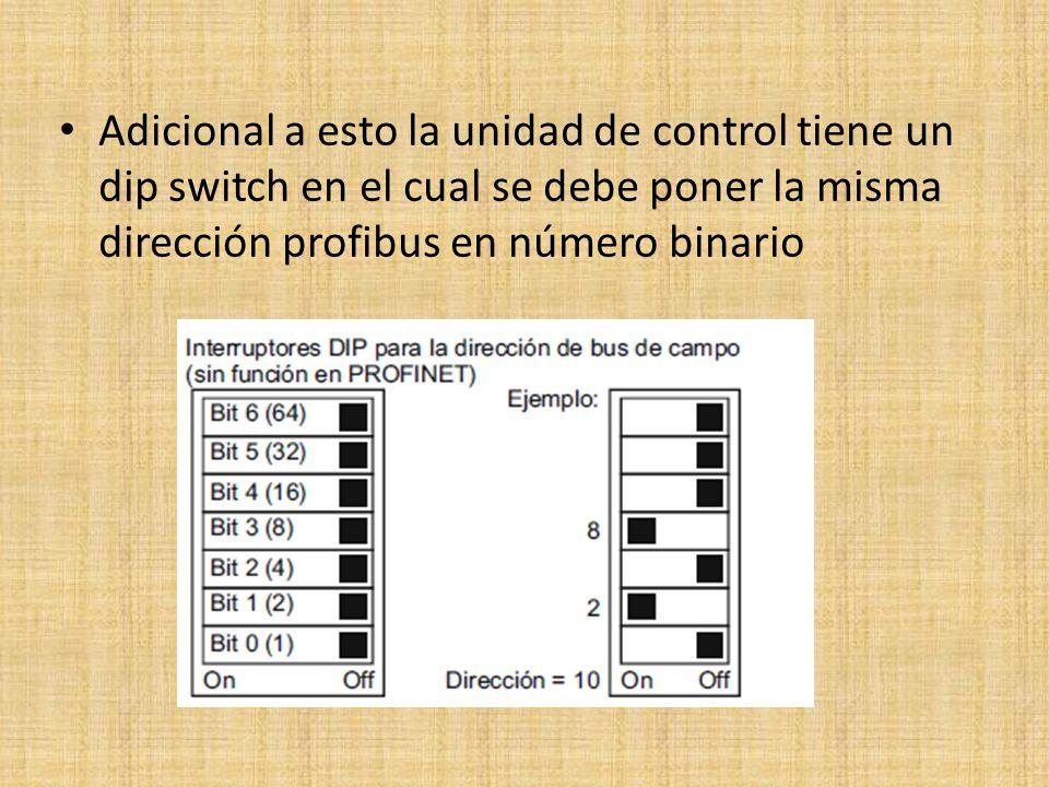 Adicional a esto la unidad de control tiene un dip switch en el cual se debe poner la misma dirección profibus en número binario