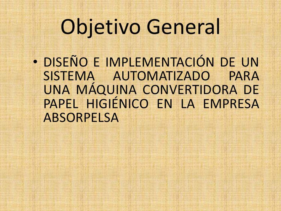 Objetivo General DISEÑO E IMPLEMENTACIÓN DE UN SISTEMA AUTOMATIZADO PARA UNA MÁQUINA CONVERTIDORA DE PAPEL HIGIÉNICO EN LA EMPRESA ABSORPELSA