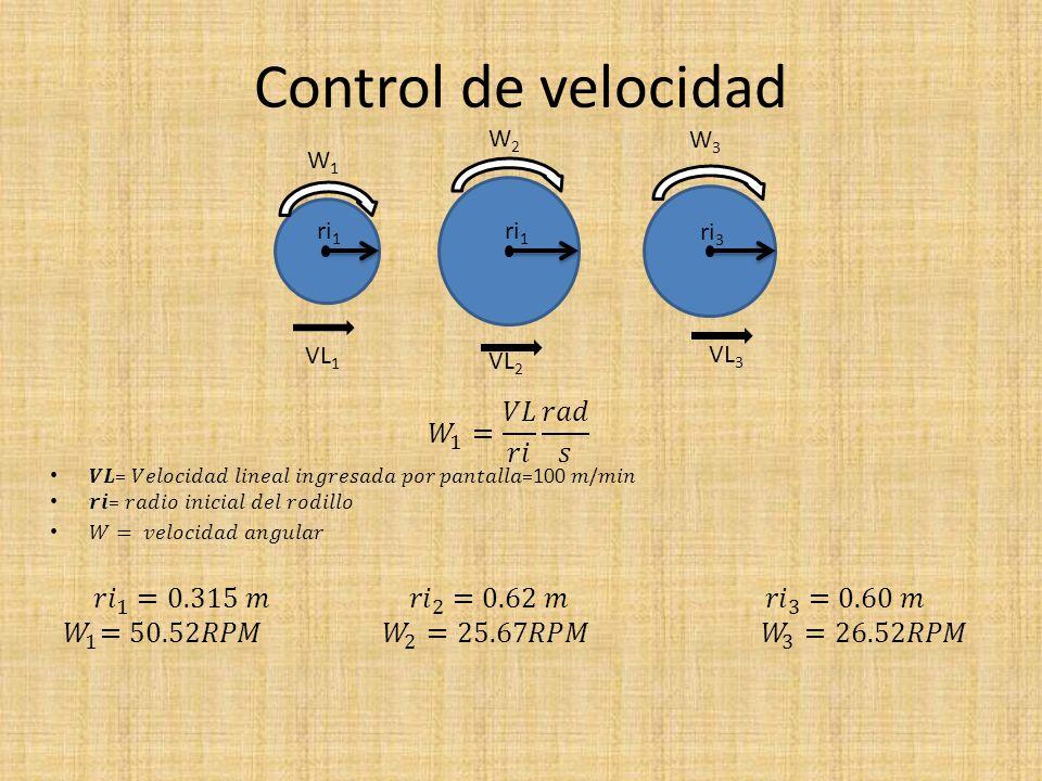Control de velocidad VL 1 VL 2 VL 3 W1W1 W2W2 W3W3 ri 1 ri 3