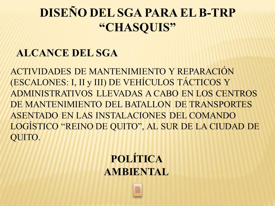 DISEÑO DEL SGA PARA EL B-TRP CHASQUIS ALCANCE DEL SGA ACTIVIDADES DE MANTENIMIENTO Y REPARACIÓN (ESCALONES: I, II y III) DE VEHÍCULOS TÁCTICOS Y ADMIN