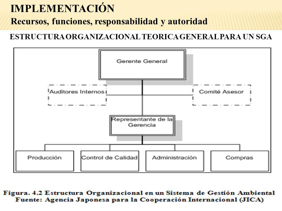 Recursos, funciones, responsabilidad y autoridad ESTRUCTURA ORGANIZACIONAL TEORICA GENERAL PARA UN SGA IMPLEMENTACIÓN