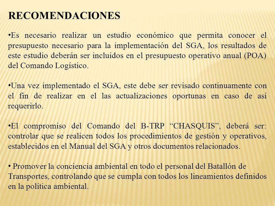 RECOMENDACIONES Es necesario realizar un estudio económico que permita conocer el presupuesto necesario para la implementación del SGA, los resultados