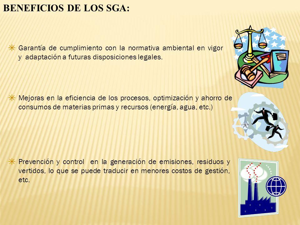 BENEFICIOS DE LOS SGA: Garantía de cumplimiento con la normativa ambiental en vigor y adaptación a futuras disposiciones legales. Mejoras en la eficie
