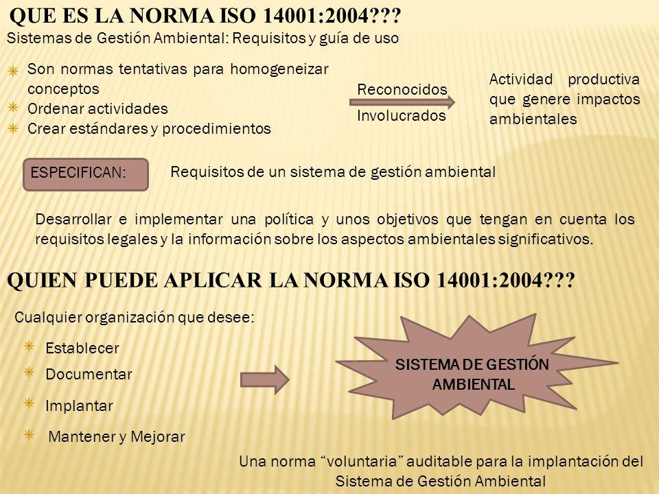 QUE ES LA NORMA ISO 14001:2004??? Sistemas de Gestión Ambiental: Requisitos y guía de uso Son normas tentativas para homogeneizar conceptos Ordenar ac