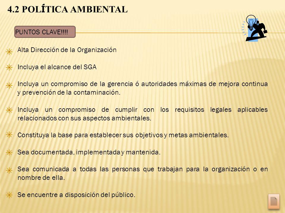 4.2 POL Í TICA AMBIENTAL Alta Dirección de la Organización Incluya el alcance del SGA Incluya un compromiso de la gerencia ó autoridades máximas de me