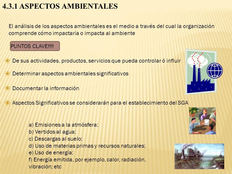 4.3.1 ASPECTOS AMBIENTALES El análisis de los aspectos ambientales es el medio a través del cual la organización comprende cómo impactaría o impacta a