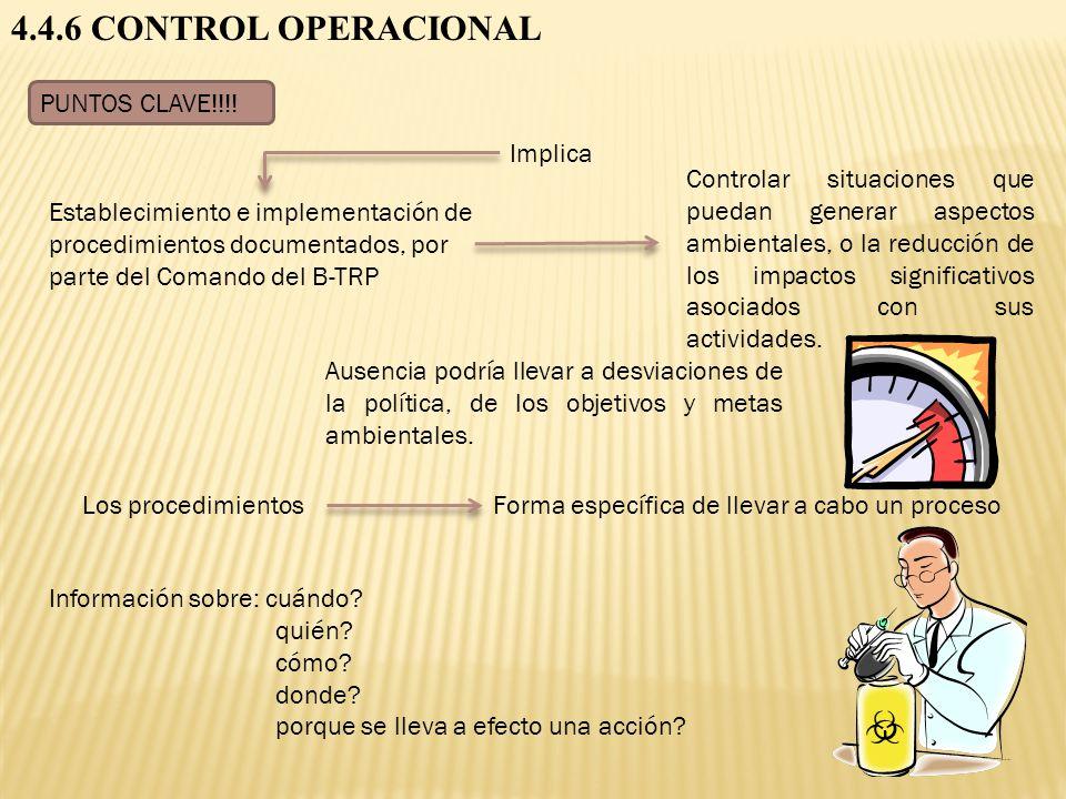 4.4.6 CONTROL OPERACIONAL PUNTOS CLAVE!!!! Información sobre: cuándo? quién? cómo? donde? porque se lleva a efecto una acción? Implica Establecimiento