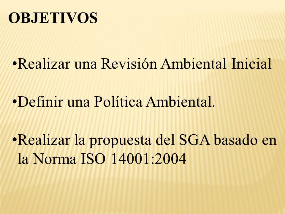 OBJETIVOS Realizar una Revisión Ambiental Inicial Definir una Política Ambiental. Realizar la propuesta del SGA basado en la Norma ISO 14001:2004