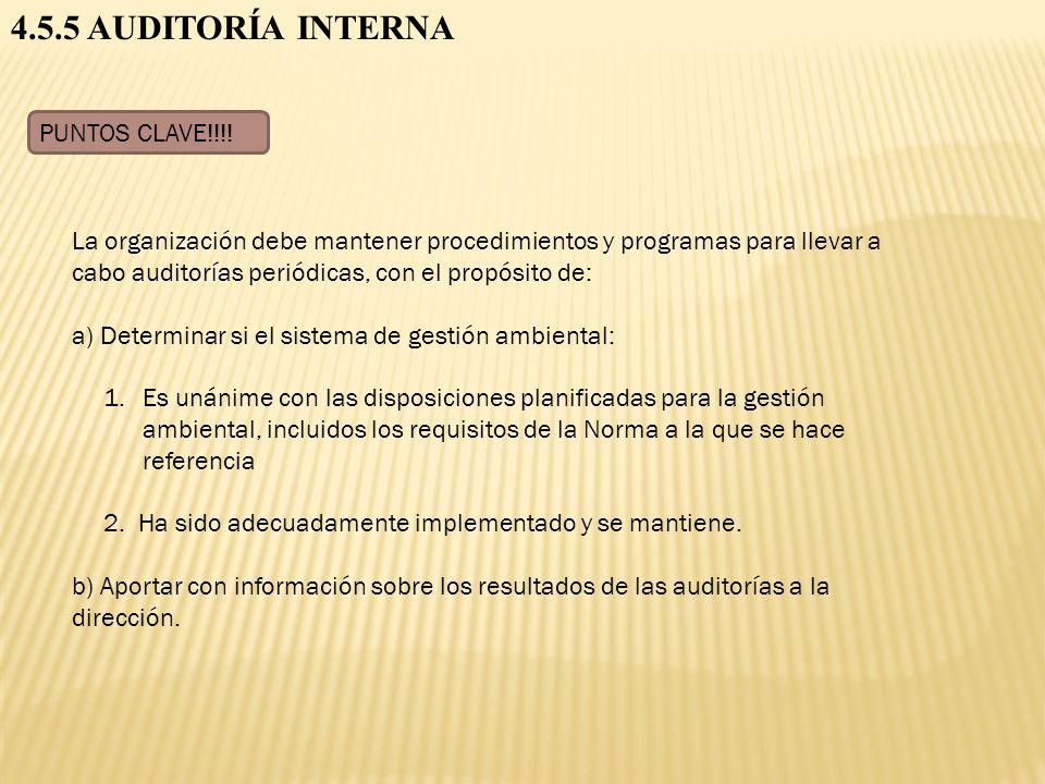 4.5.5 AUDITORÍA INTERNA PUNTOS CLAVE!!!! La organización debe mantener procedimientos y programas para llevar a cabo auditorías periódicas, con el pro